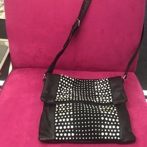Crystal & Stud Cross Body Black Bag